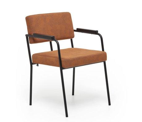 FÉST Eetkamerkamerstoel Monday met armleuningen ginger bruin Febrik Razzle dazzle 50/56x55x78cm