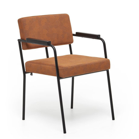 FÉST Dining room chair Monday with armrests ginger brown Febrik Razzle dazzle 50 / 56x55x78cm