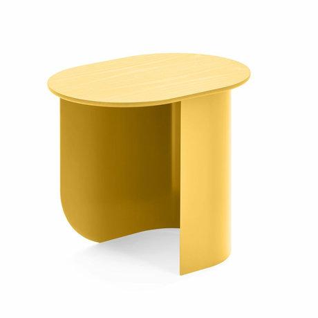 FÉST Table d'appoint Plateau en bois jaune métal 44x32x40cm