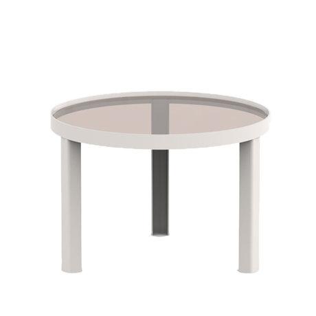 FÉST Coffee table Cedric sand brown metal glass S Ø60x42cm