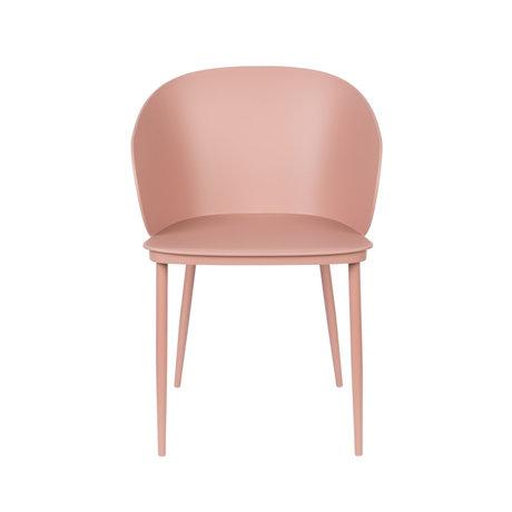 LEF collections Chaise de salle à manger Sofia plastique rose acier 57x53.5x81cm