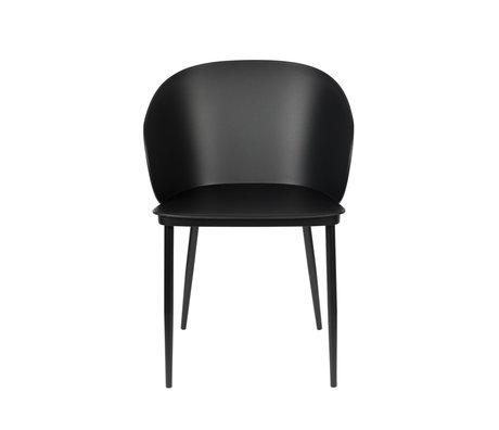 LEF collections Chaise de salle à manger Sofia plastique noir acier 57x53.5x81cm