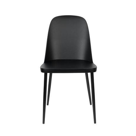LEF collections Chaise de salle à manger Kaj acier plastique noir 46x53.5x85cm