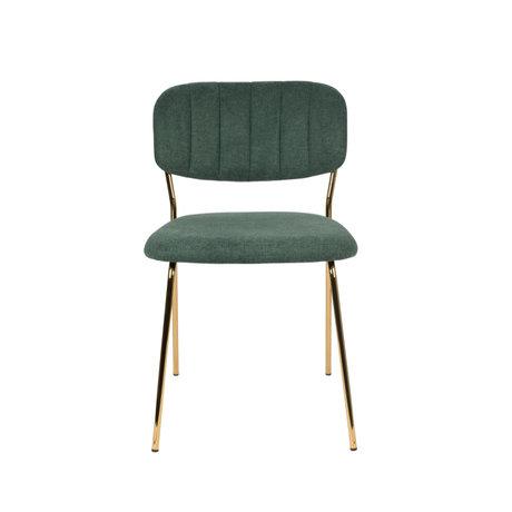 LEF collections Chaise de salle à manger Vinny en acier polyester vert foncé or 49x56.5x79cm