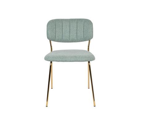 LEF collections Chaise de salle à manger Vinny en acier polyester vert clair or 49x56.5x79cm