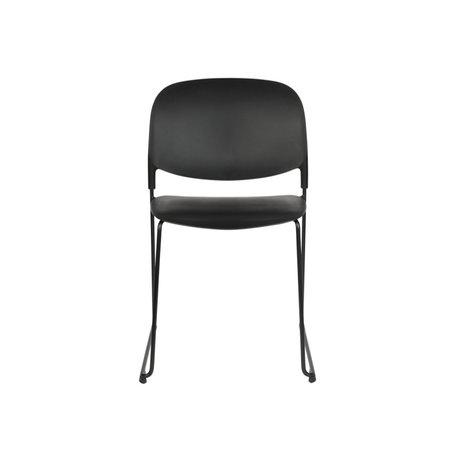 LEF collections Eetkamerstoel Kristine zwart polyester staal 48,5x52,5x80cm