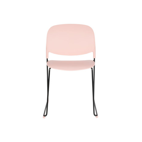 LEF collections Eetkamerstoel Kristine roze zwart polyester staal 48,5x52,5x80cm
