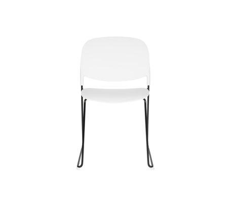 LEF collections Eetkamerstoel Kristine wit zwart polyester staal 48,5x52,5x80cm