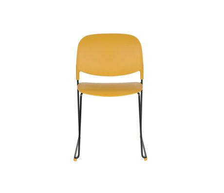 LEF collections Eetkamerstoel Kristine oker geel zwart polyester staal 48,5x52,5x80cm
