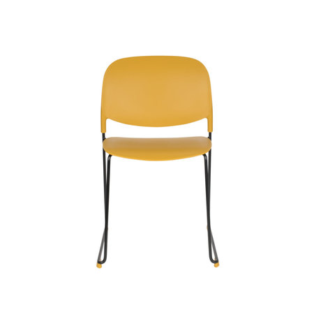 LEF collections Chaise de salle à manger Kristine ocre jaune acier polyester noir 48.5x52.5x80cm