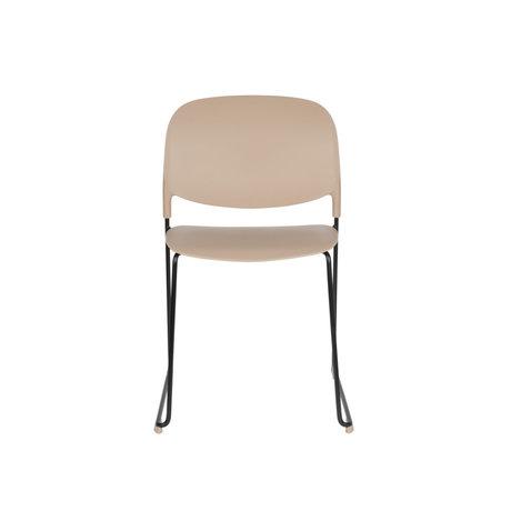LEF collections Chaise de salle à manger Kristine taupe acier polyester noir 48.5x52.5x80cm