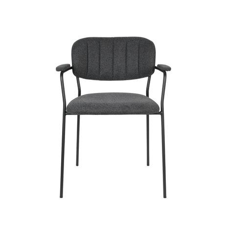 LEF collections Eetkamerstoel Vinny met armleuning donker grijs zwart polyester staal 60,5x57x79cm