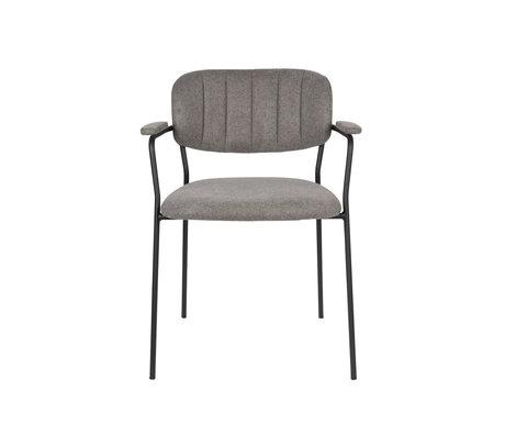 LEF collections Chaise de salle à manger Vinny avec accoudoir gris acier polyester noir 60.5x57x79cm