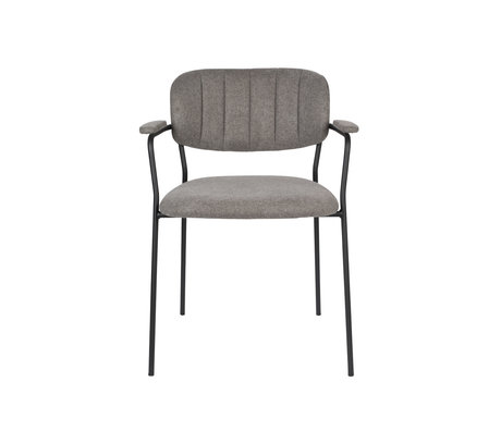 LEF collections Dining room chair Vinny with armrest gray black polyester steel 60.5x57x79cm