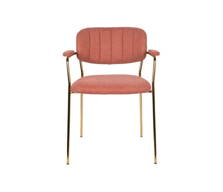 LEF collections Eetkamerstoel Vinny met armleuning roze goud polyester staal  60,5x57x79cm