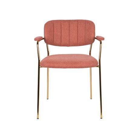 LEF collections Chaise de salle à manger Vinny avec accoudoirs en acier polyester or rose 60.5x57x79cm