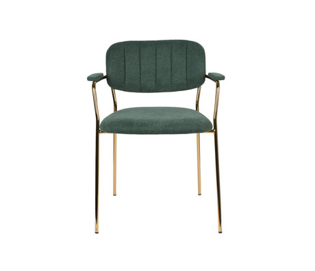 LEF collections Dining room chair Vinny with armrest dark green gold polyester steel 60.5x57x79cm