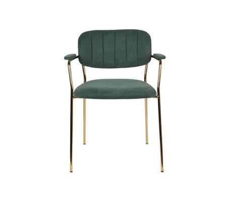 LEF collections Eetkamerstoel Vinny met armleuning donker groen goud polyester staal 60,5x57x79cm