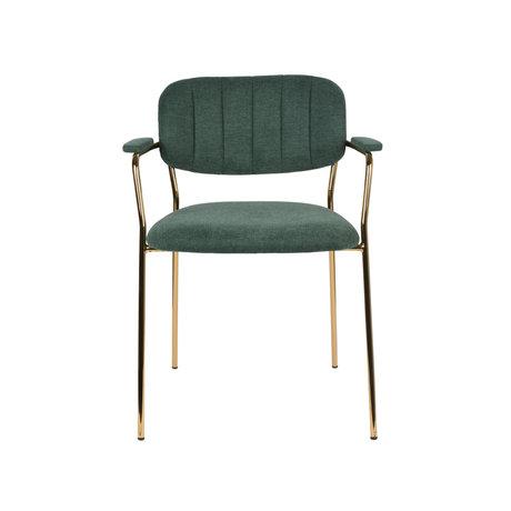 LEF collections Chaise de salle à manger Vinny avec accoudoir en acier polyester vert foncé or 60,5x57x79cm