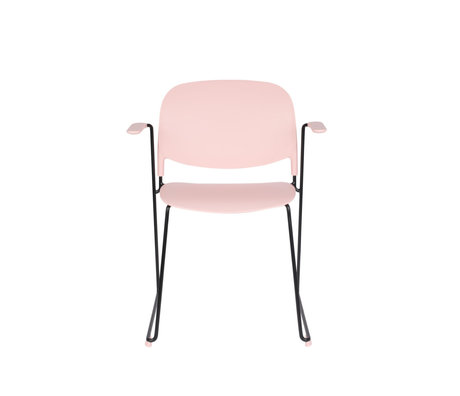 LEF collections Chaise de salle à manger Kristine avec accoudoir rose acier polyester noir 63.5x53x80.5cm