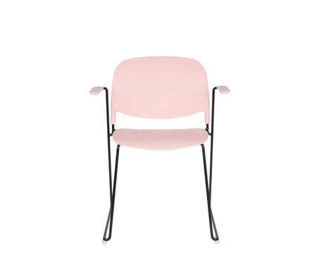LEF collections Eetkamerstoel Kristine met armleuning roze zwart polyester staal 63,5x53x80,5cm