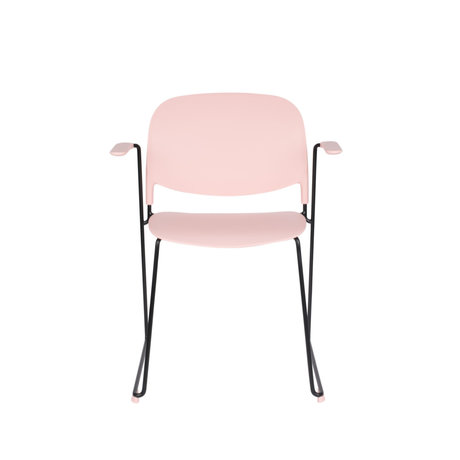 LEF collections Dining room chair Kristine with armrest pink black polyester steel 63.5x53x80.5cm