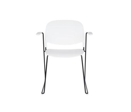 LEF collections Chaise de salle à manger Kristine avec accoudoir blanc acier polyester noir 63.5x53x80.5cm