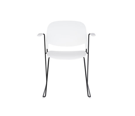 LEF collections Eetkamerstoel Kristine met armleuning wit zwart polyester staal 63,5x53x80,5cm