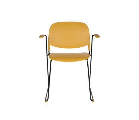 LEF collections Chaise de salle à manger Kristine avec accoudoir ocre jaune noir polyester acier 63.5x53x80.5cm