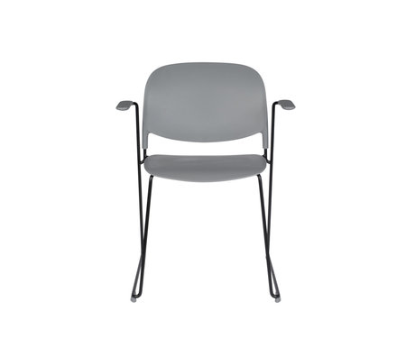LEF collections Chaise de salle à manger Kristine avec accoudoir gris acier polyester noir 63.5x53x80.5cm