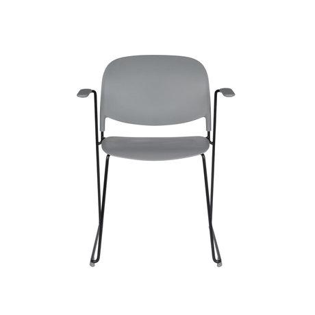 LEF collections Eetkamerstoel Kristine met armleuning grijs zwart polyester staal 63,5x53x80,5cm