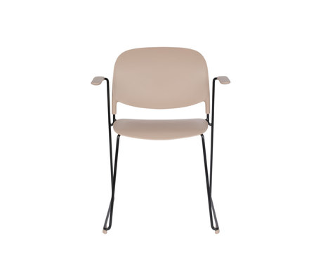 LEF collections Dining room chair Kristine with armrest taupe black polyester steel 63.5x53x80.5cm