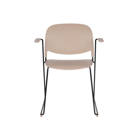 LEF collections Chaise de salle à manger Kristine avec accoudoir taupe acier polyester noir 63.5x53x80.5cm
