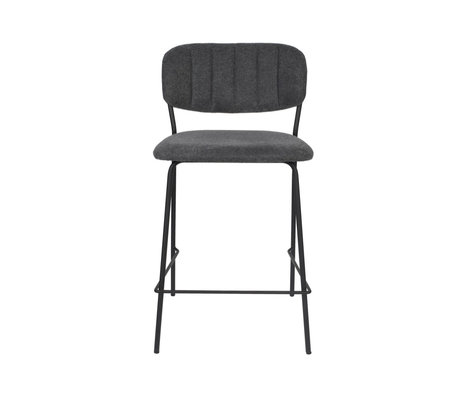 LEF collections Bar stool Vinny dark gray black polyester steel 48x54x89cm