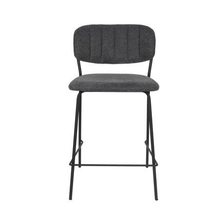 LEF collections Barkruk Vinny donker grijs zwart polyester staal 48x54x89cm
