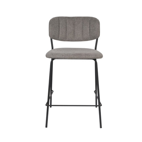 LEF collections Bar stool Vinny gray black polyester steel 48x54x89cm
