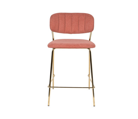 LEF collections Tabouret de bar Vinny or rose polyester acier 48x54x89cm