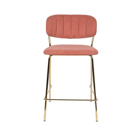 LEF collections Bar stool Vinny pink gold polyester steel 48x54x89cm