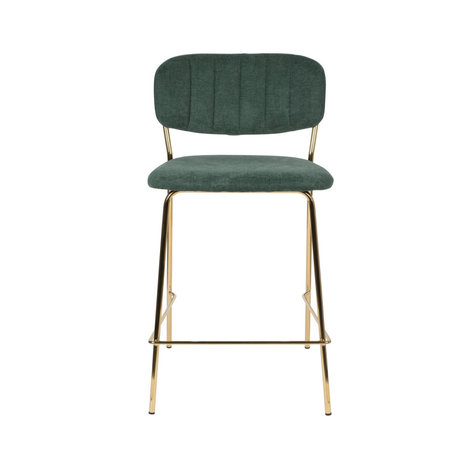 LEF collections Bar stool Vinny dark green gold polyester steel 48x54x89cm
