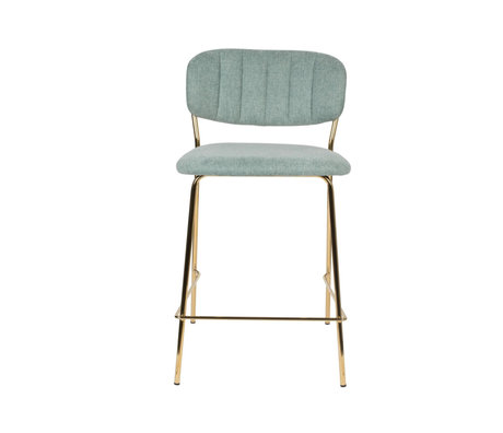LEF collections Bar stool Vinny light green gold polyester steel 48x54x89cm