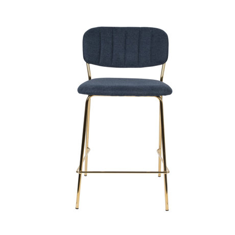 LEF collections Bar stool Vinny dark blue gold polyester steel 48x54x89cm
