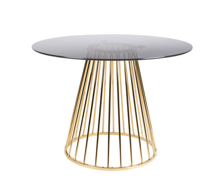 LEF collections Dining table Mariel gold black glass iron Ø104x75cm