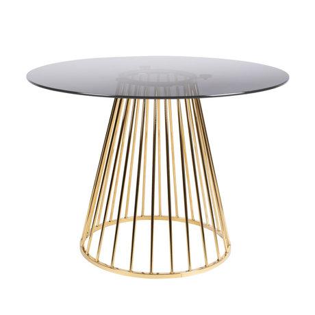 LEF collections Eettafel Mariel goud zwart glas ijzer Ø104x75cm