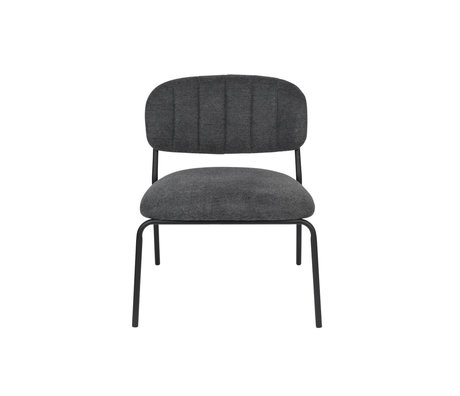 LEF collections Armchair Vinny dark gray black polyester steel 56x60x68cm
