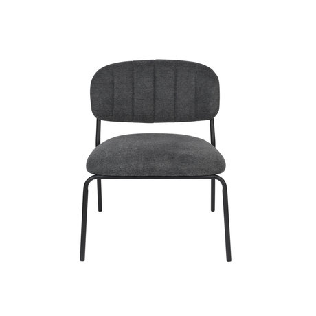 LEF collections Fauteuil Vinny gris foncé acier polyester noir 56x60x68cm