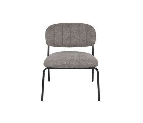 LEF collections Armchair Vinny gray black polyester steel 56x60x68cm