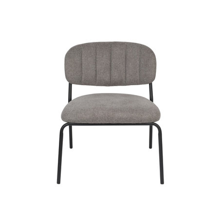 LEF collections Fauteuil Vinny grijs zwart polyester staal 56x60x68cm