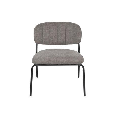 LEF collections Fauteuil Vinny gris acier polyester noir 56x60x68cm