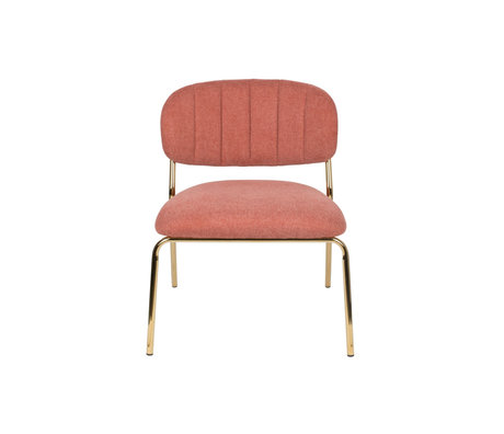 LEF collections Fauteuil Vinny roze goud polyester staal 56x60x68cm