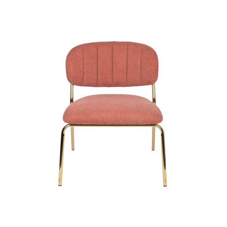 LEF collections Armchair Vinny pink gold polyester steel 56x60x68cm